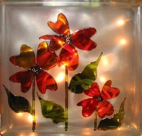 Bloc de verre en fleur