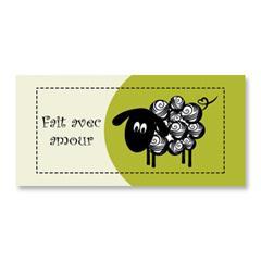 Étiquette rectangulaire - mouton - fait avec amour - 0703 vert