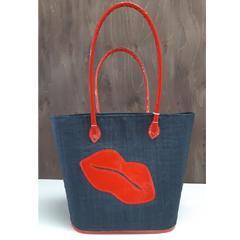 Sac à tricot - Lèvre rouge - Noir - M