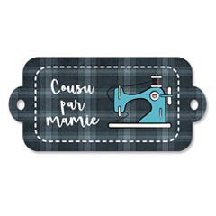Étiquette rectangulaire - cousu par mamie - 0403 gris et bleu