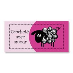 Étiquette rectangulaire - mouton - crocheté avec amour - 0702 rose