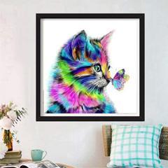 Diamond painting chat coloré