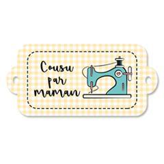Étiquette rectangulaire - cousu par maman - 0404 jaune