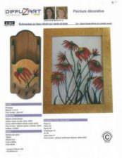 Echinacées en faux vitrail sur verre et bois
