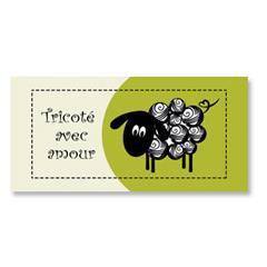 Étiquette rectangulaire - mouton - tricoté avec amour - 0701 vert