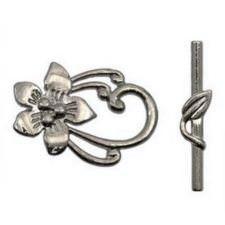 Métal Fermoir Cabillot Fleur de Fantaisie Nickel Noir 20X30MM