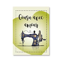 Étiquette rectangulaire - machine à coudre - cousu avec amour - 0101 vert