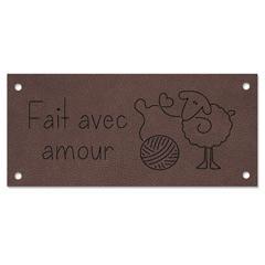 Étiquette cuir - fait avec amour mouton - 0503