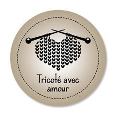 Étiquette ronde - cœur de laine - tricoté avec amour - 0601 brun