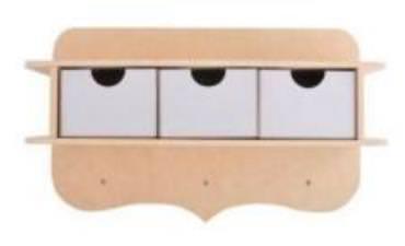 Tablette avec 3 tiroirs et 3 porte clé