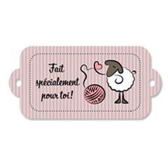 Étiquette rectangulaire - mouton - fait spécialement pour toi - 0401 rose