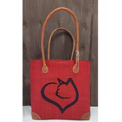 Sac à tricot - Coeur chat - Rouge - G