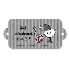 Étiquette rectangulaire - mouton - fait spécialement pour toi - 0401 gris et rose