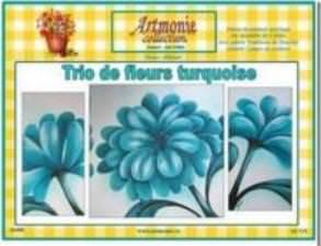 Trio de fleurs turquoise