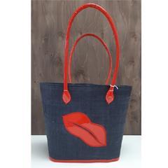 Sac à tricot - Lèvre rouge - Noir - P
