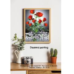 Diamond painting rose rouge