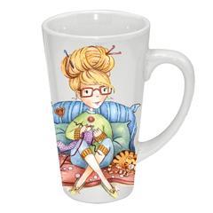 Tasse en porcelaine 17 oz - La crocheteuse - C. Fellis