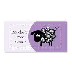 Étiquette rectangulaire - mouton - fait avec amour - 0703 mauve