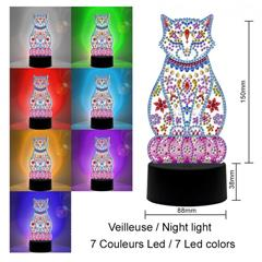 Lampe Diamond painting Chat