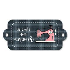 Étiquette rectangulaire - je couds avec amour - 0402 gris et rose