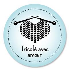 Étiquette ronde - cœur de laine - tricoté avec amour - 0601 turquoise