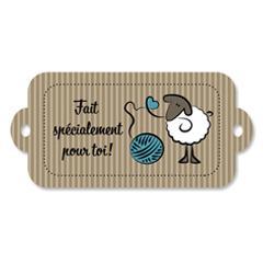Étiquette rectangulaire - mouton - fait spécialement pour toi - 0401 brun et bleu