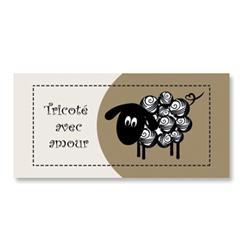 Étiquette rectangulaire - mouton - tricoté avec amour - 0701 brun