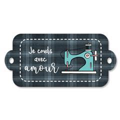 Étiquette rectangulaire - je couds avec amour - 0402 gris et bleu