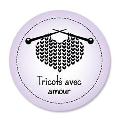 Étiquette ronde - cœur de laine - tricoté avec amour - 0601 mauve
