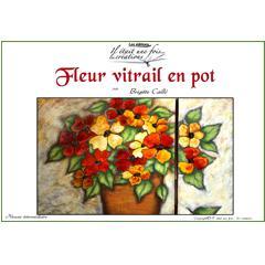 Fleur vitrail en pot