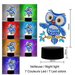 Lampe Diamond painting Hibou bleu