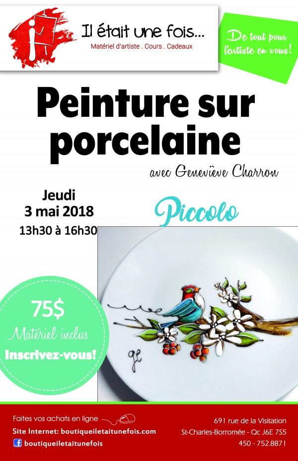 Peinture sur porcelaine avec  Geneviève Charron