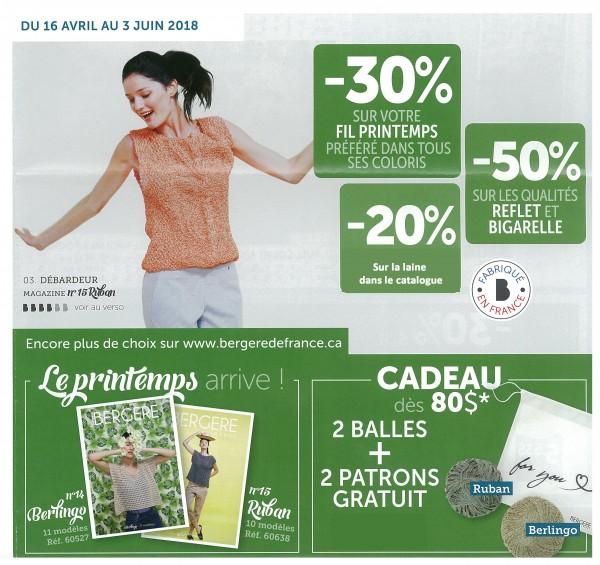 Promotion Bergère de France 16 avril au 3 juin 2018